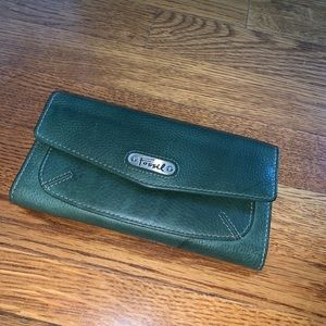 Fossil green leather wallet checkbook pocket book